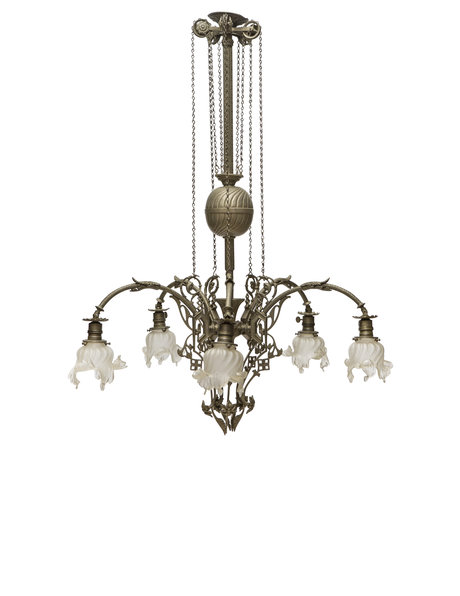 Large pendant lamp with pull pendulum and five light sources, 1930s