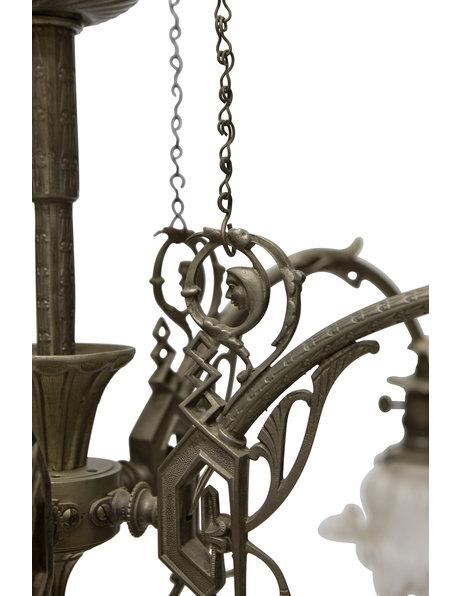 Grote hanglamp met trekpendel en vijf lichtbronnen, ca. 1930