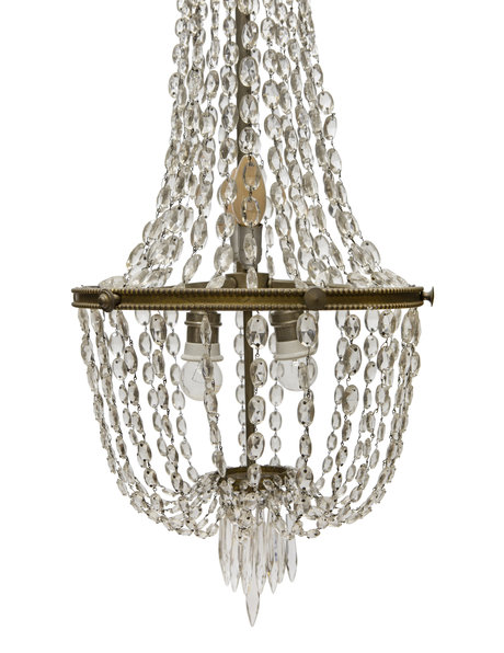 Crystal glass and gold copper pocket chandelier, 1940s