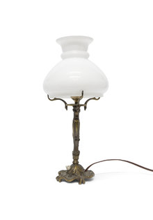 Brocante Table Lamp, White Glass Shade, 1940s