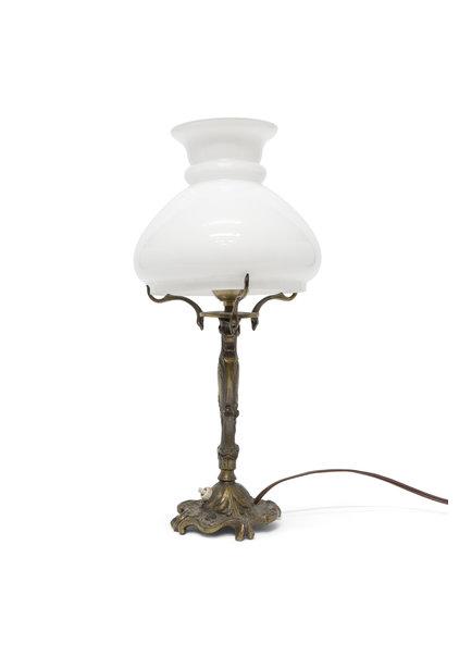 Brocante Tafellamp, Wite Glazen Kap, Jaren 40