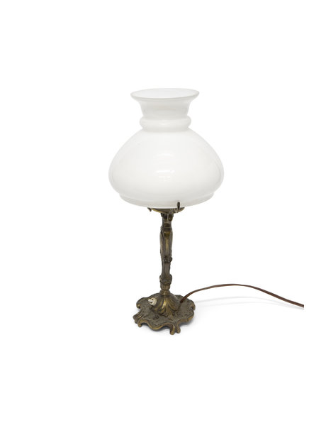 Brocante table lamp, decorated copper base, 1940s