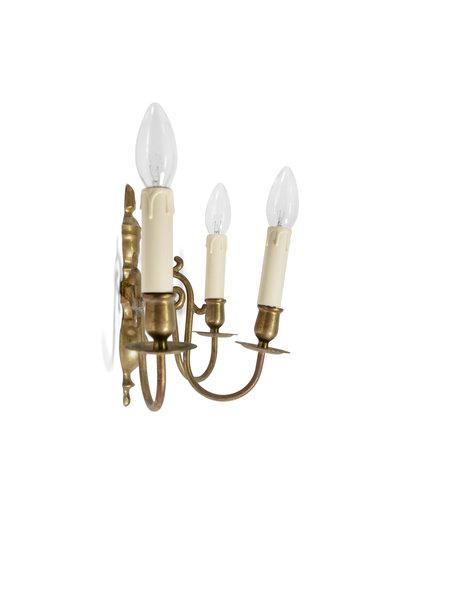 Wandlamp, 3 armen met elektrische kaarnse, ca. 1930