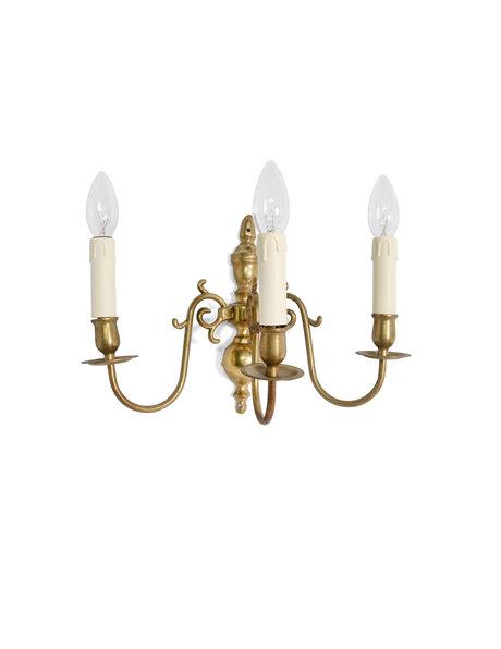 Wandlamp, 3 armen met elektrische kaarsen, ca. 1930