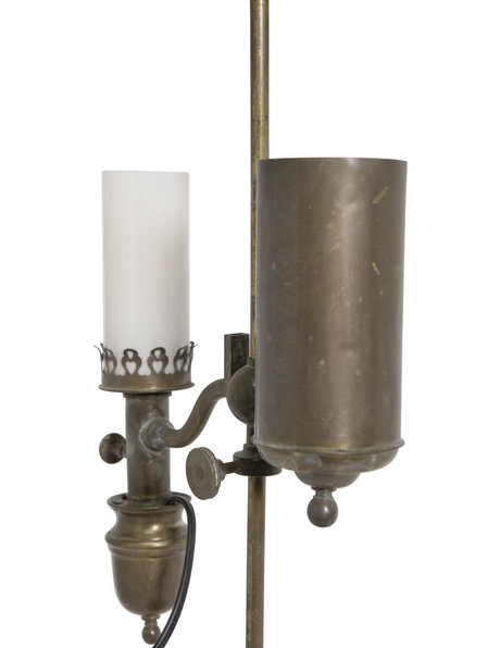 Antique table lamp, converted carbide lamp, 1910s