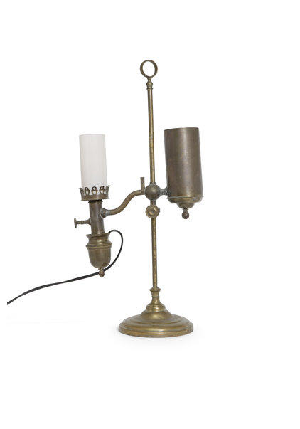 Antieke Tafellamp, Koper, (omgebouwde) Carbidlamp