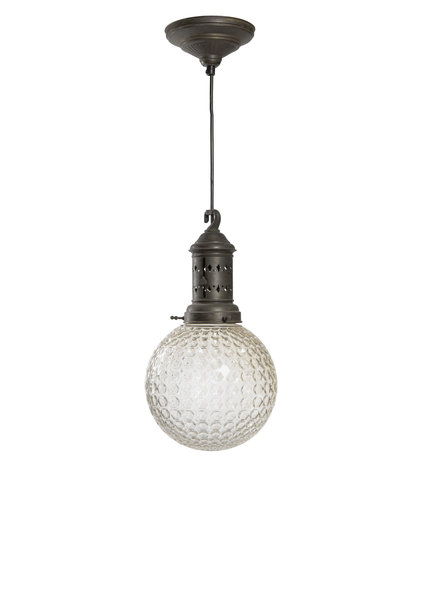 Small Pendant Lamp, Glass Sphere on a Beautiful Fixture