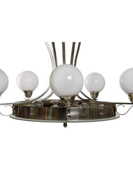 Art Deco hanging lamp, glass bowl with 5 arms, 1940s