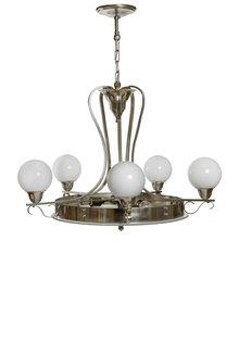 Art Deco Hanglamp, Glas en Chroom, Jaren 40