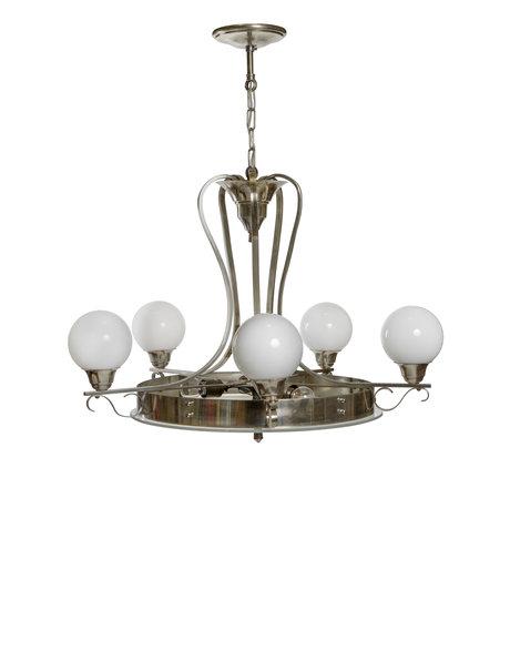 Art Deco hanglamp, glazen schaal met 5 armen, ca. 1940