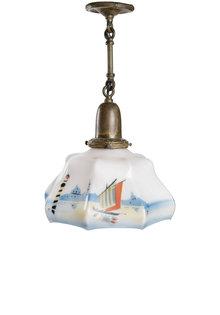 """Kleine Antieke Hanglamp """"Zeilboot"""", jaren 30"""
