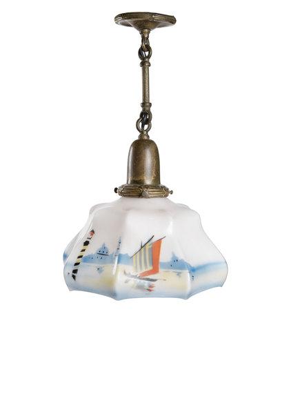 "Small Antique Pendant Lamp ""Sailboat"", 1930s"
