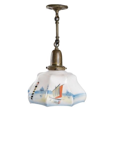 Mooie glazen lampenkap aan ketting, ca. 1930