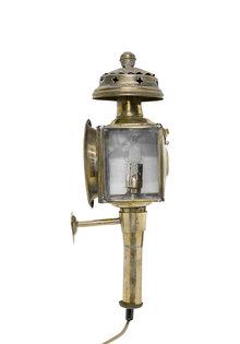 Koperen Wandlamp, als een Koetslantaan, Geslepen Glas