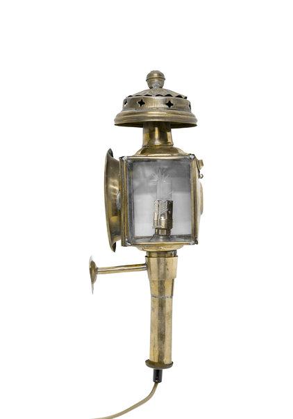 Copper Wall Lamp, like a Coach Lantern, Cut Glass