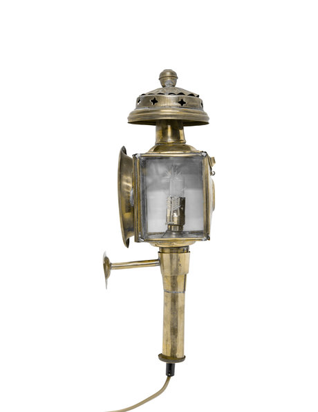 Copper wall lamp, lantern as before on carriages