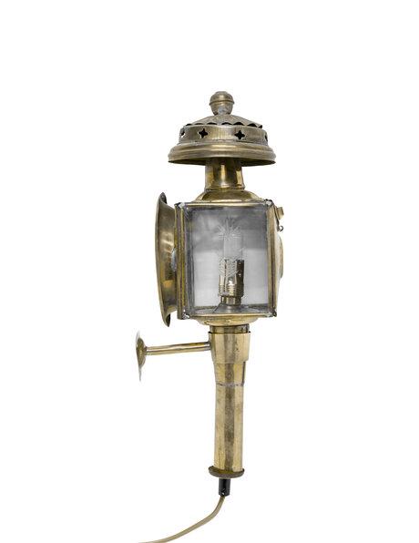 Koperen Wandlamp, lantaarn zoals vroeger aan koetsen