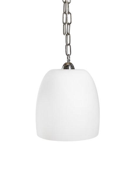 Vintage hanglamp, glazen lampenkap aan zilveren ketting, ca. 1960
