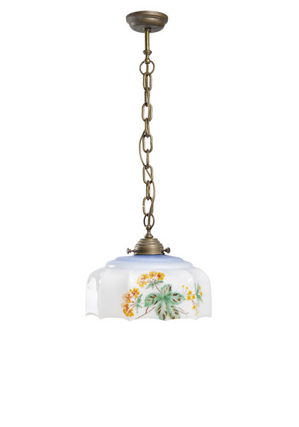 Antique Pendant, Lampshade with Flowers