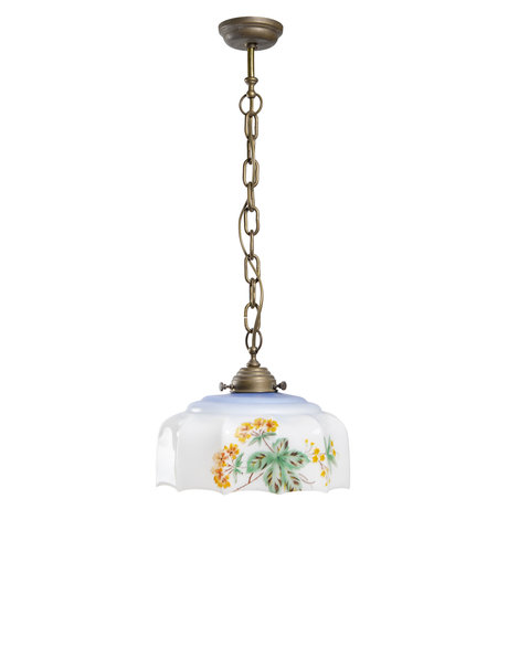 Small hanging lamp on chain, glass shade with flowers