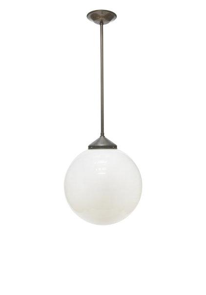 Hele Grote Hanglamp,  50cm Wit Glazen Bol, Jaren 40