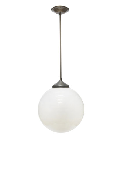 Very Large Pendant Lamp, White Glass Sphere, 1940s
