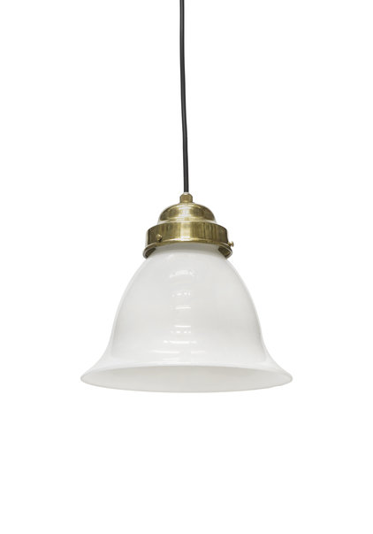Classic Pendant Lamp, White Glass Chalice on Wire