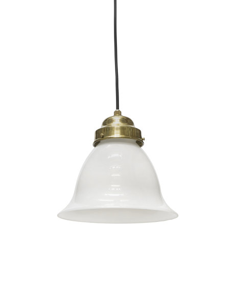 Classic hanging lamp, white glass chalice on cord