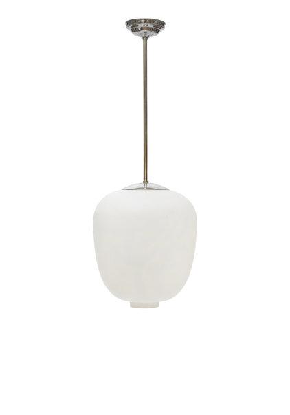 Vintage Design Hanglamp, Zweeds, Wit Glas, Jaren 50