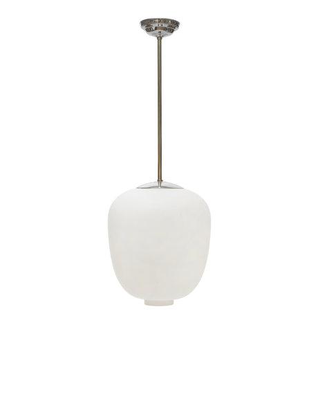 Vintage design hanglamp, Zweeds, wit glas, ca. 1950