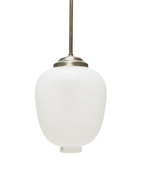 Vintage hanging lamp, Swedish, white glass shade, 1950s