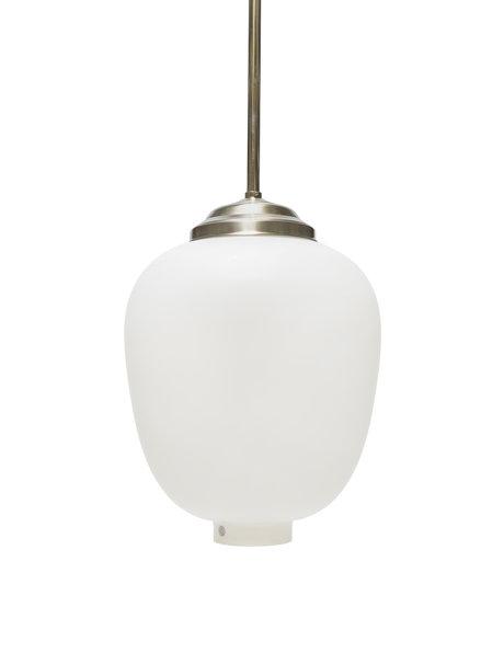 Vintage Hanglamp, Zweeds, witte glazen kap, ca. 1950