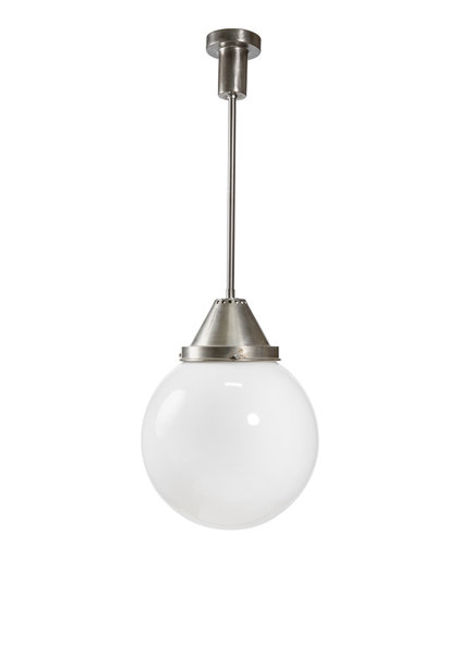 Gispen Stijl Hanglamp, Witte Bol aan Pendel, Jaren 30
