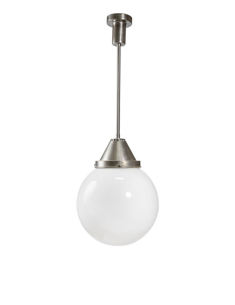 style hanging lamp with chrome pendulum and glass sphere