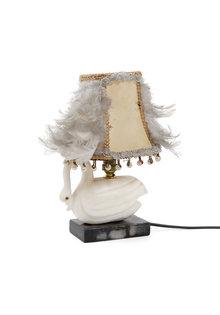 Brocante Table Lamp, Natural Stone Swan, 1940s