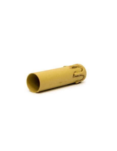 Kaarshuls bruin met druppels: 10 cm hoog bij 2.4 cm binnenmaat