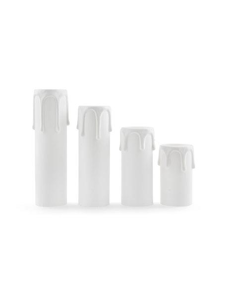 Witte Kaarshuls, 9 cm hoog, met druppels, Kleine fitting: E14.