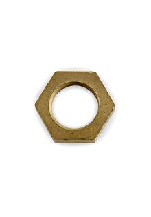 Nut, Brass, Hexagonal (6-sided), 0.5 cm / 0.2 inch thick, M16