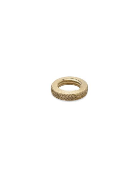 Nut, round with serrated edge, brass, M10x1 thread