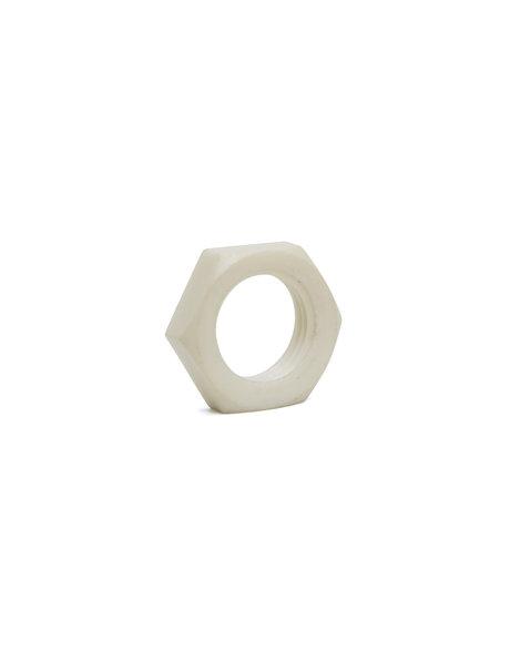Nut, white plastic, m10 x 1