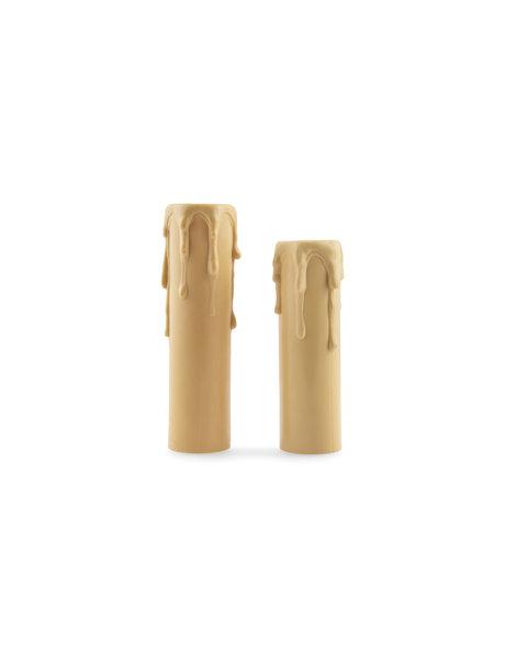 Creme kleurige kaarshuls met druppels, 8.5 cm hoog, voor kleine fitting