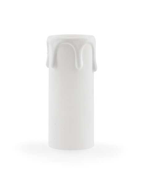 E14 Candle socket cover, white, wider model with drops, hight: 7.0 cm / 2.8 inch