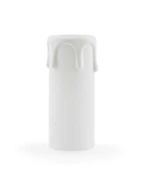 E14 kaarshuls, wit, breder model met druppels, 7.0 cm hoog