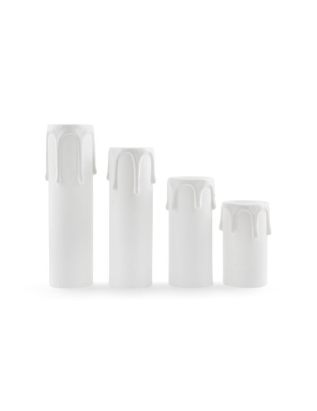 E14 Candle socket cover, white, larger model with drops, hight: 7 cm / 2.8 in