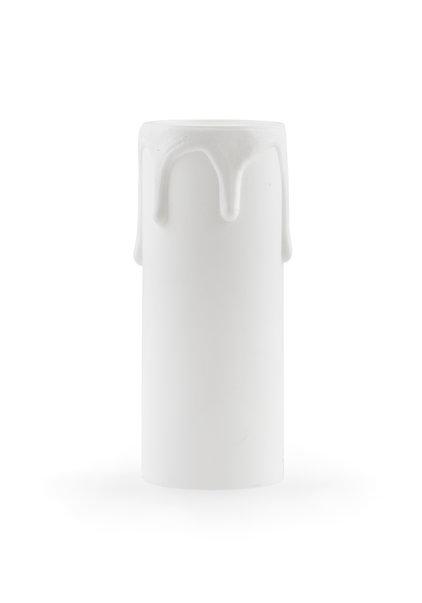 Kaarshuls, E14, wit, druppels, 6.5x2.4 cm