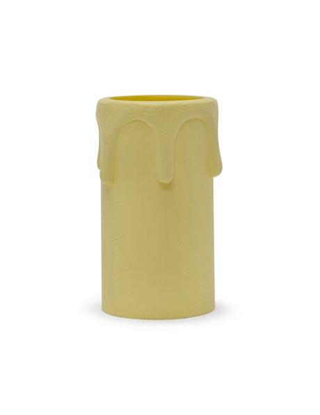 Kaarshuls van crèmekleurig kunststof met druppels, kleine fitting