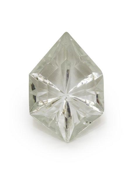 Kroonluchter glazen kraalwerk. 6-hoekig glas, voorkant vlak, achterkant puntje