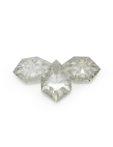 Kroonluster kristal, 6-hoekige kraal met ster, klein model