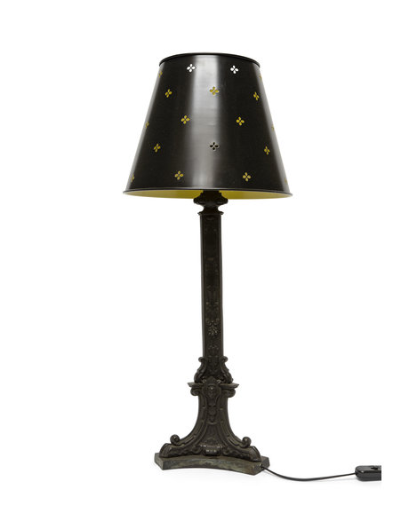 Grote tafellamp met klavertjes op de kap, ca. 1950