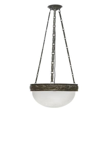 Antieke Hanglamp, Matglazen Schaal aan Ketting